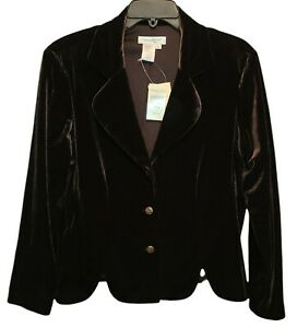 Coldwater Creek Brown Velour Blazer Jacket Size 14 Petite NEW WITH TAGS!