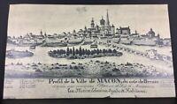 Ancienne photo gravure panoramique Mâcon au moyen âge 54x31