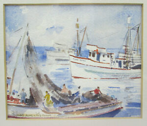 Helen Schepens-Kraus (1916-1988) Small Watercolor California Coastal Seascape #3