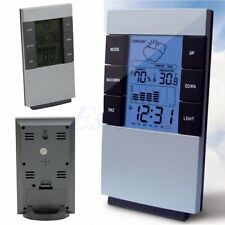 Weather Led Backlight Digital Calendar Thermometer Hygrometer Alarm Clock Home