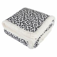 Snow Leopard Animal Print Fleece Blanket Soft Sherpa Sofa Bed Throw 150x200cm by