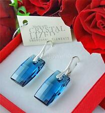 925 Sterling silver Earrings URBAN Denim Blue 20mm Crystals From Swarovski®