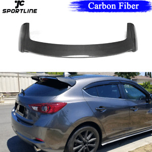 Carbon Fiber Rear Tail Roof Spoiler Wing Lip For Mazda 3 Axela Hatchback 2014-19