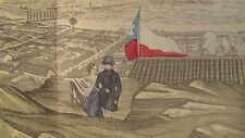 "+ c.1854 PANORAMIC 69"" x 11.5"" Tinted Lithograph SANTIAGO de Chile by T.SINCLAIR"