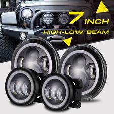 "7"" 96W CREE LED Headlight 4"" Fog Lamp Round Halo Signal DRL For Jeep Wrangler JK"