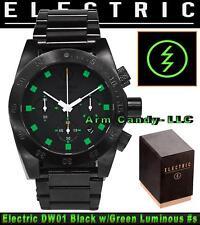 #NIB Electric California 45mm DW01 SS Black Bracelet with Orange & Green Accents