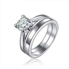 Size 7 Womens Rare 2Pcs 18K Gold Filled White Topaz Wedding Engagement Ring Set
