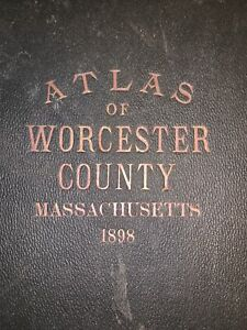 Atlas of the County of Worcester, MA 1898 Richards- 55 Double Pg Linen Maps16x23