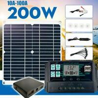 200W Solar Panel Kit 12V Batterieladegerät 10A-100A Caravan Controller Boat E1Y2