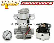 High Flow Electric Fuel Pump 140GPH Universal w/ Black Regulator& Pressure Gauge