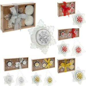 CHRISTMAS TEALIGHT CANDLE AND HOLDER SET SNOWFLAKE TREE STAR DECORATION