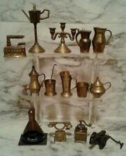 14 Vintage BRASS Miniature DOLLHOUSE Accessories LOT Coffee Grinder Urns Pots