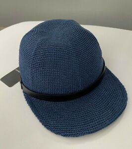 Emporio Armani Knit Baseball Hat Cap 58 US=7 1/8 Blue Textile Leather Fit Italy