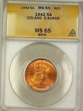 1942 Iceland 5A Five Aurar Copper Coin ANACS MS-65 Red GEM BU (E)