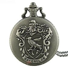 Grey Harry Potter School Crest Ravenclaw Quartz Pocket Watch Necklace  Free Gift