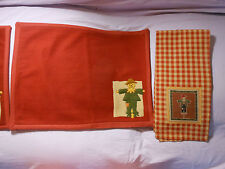 Set 2 ea Fall Thanksgiving Scarecrow PLACEMATS & NAPKIN/TOWELS by Harvest Rustic