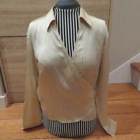 Ann Taylor Womens Petites Champagne 8P Silk Tie Wrap Top Blouse Long Sleeve