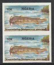 Nigeria 3860 - 1991 FISH - ELECTRIC CATFISH 10k IMPERF PAIR unmounted mint