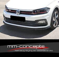 CUP Spoilerlippe SCHWARZ für VW Polo GTI MK6 Frontspoiler Spoilerschwert V1 ABS