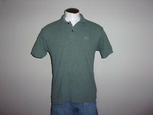 VGUC! Men's LACOSTE Sz 5, US Sz L Green/Gray Mesh Short Sleeved Polo Shirt CROC!