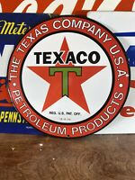 10-6-33 VINTAGE  ''TEXACO''  GAS & OIL PUMP PLATE 12 INCH PORCELAIN SIGN