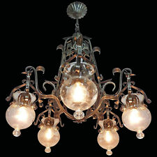 Forged Iron and Tole Cage-Form Chandelier with Five Hanging Light Glass Globes