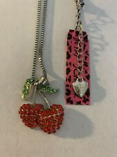 Betsey Johnson RED Rhinestone DOUBLE CHERRY Pendant Chain Necklace-BJ84420