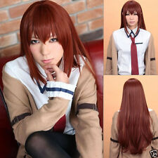 New Makise Kurisu Steins Gate Long Straight Anime Cosplay Party Hair wig @213