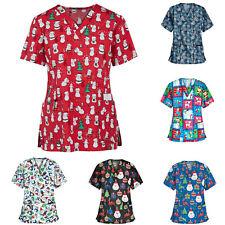 Unisex Scrub Floral Tops Women Medical Nursing Short Sleeve Xmas Uniform Blouse