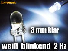 10 Stück Blink-LED 3mm weiß blinkend ca. 2 mal pro Sekunde 1.5-2.5 Hz