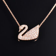 Natural Diamond Swan Pendant Necklace Chain Solid 14K Rose Gold Birthday Jewelry