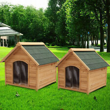 Extra Large Wood Outdoor/Indoor Pet House Dog Kennel Shelter Den With Apex Roof