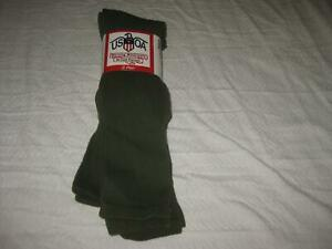 USGI BOOT SOCKS ANTIMICROBIAL GREEN LARGE 13-15 (3 PAIR) NEW 3362