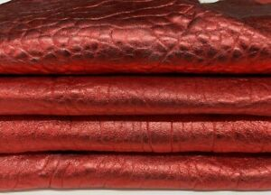 METALLIC RED BUBBLY grainy thick Lambskin leather 2 skins 8sqf 2.0mm #A7327