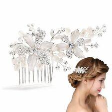 Meiysh Vintage Bridal Side Hair Comb Wedding Hairpiece with Flowers&Water Pearls