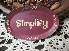 """Mini 5"""" Oval Tray With Primitive Finish """"Simplify"""" + FREE Wooden  Display Rack"""