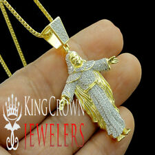 Full Body Jesus Piece Pendant Real Yellow Gold Silver Simu Diamond Charm +Chain