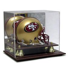 SAF-T-GARD MINI NFL FOOTBALL HELMET LEATHER BASE ACRYLIC DISPLAY CASE AS0218