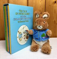 The Tale of Peter Rabbit 4 Book Set Illustrated  with Peter Rabbit Plush Toy.