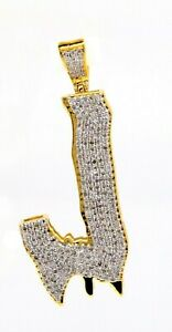 1.30 Ct Natural Diamond Letter J 10K Solid Gold Only Pendant