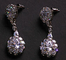 Celina Cubic Zirconia Stone Dual Droplet Embellished Chrome Earrings(Cl35)