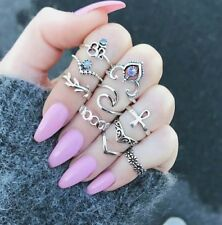 10pcs/Set Boho Vintage Punk Silver Color Cross Crown Crystal Rhinestone Finger R