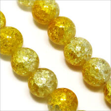 Lot de 20 Perles Craquelées en verre 12mm Bicolore Jaune Cristal