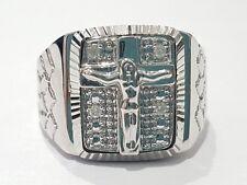 10k White Gold Nugget Jesus Diamond Mens Ring Band Fashion Religious Man