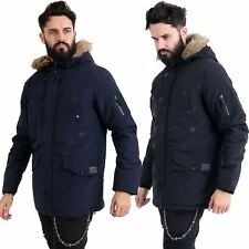 New Mens Parka Parker Padded Lined Winter Jacket Faux Fur Hooded Coat New S-XXL