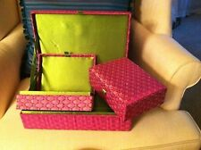 3 Piece PINK GREEN SILK EMBROIDERED JEWELERY BOX - 12x8x4- BEADS SEQUINS NEW!