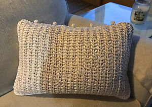 KNITTED SILK IVORY DECORATIVE PILLOW BY ANN GISH