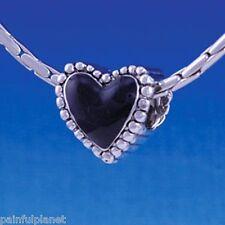 BLACK ENAMEL BEADED HEART  Large Hole European Charm Bead  USA  CLEARANCE
