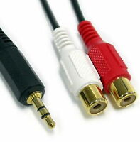 1.5M 5FT 3.5mm Stereo Audio Plug to 2 RCA extension Cable Male TO Female GOLD