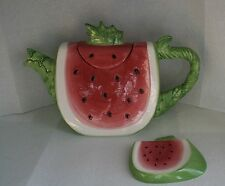 Susan Winget WatermelonTeapot with Teabag Holder